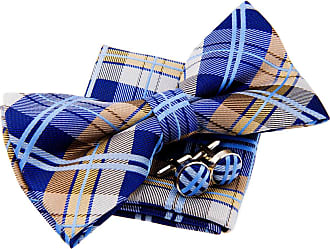 Retreez Elegant Tartan Plaid Check Woven Microfiber Pre-tied Bow Tie (Width: 5) with matching Pocket Square and Cufflinks, Gift Box Set as a Birthday, Christm