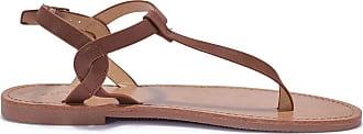 Truffle Womens Black Tan Faux Leather Truffle Comfort Flat Toe Post Sandals - Tan - UK 8