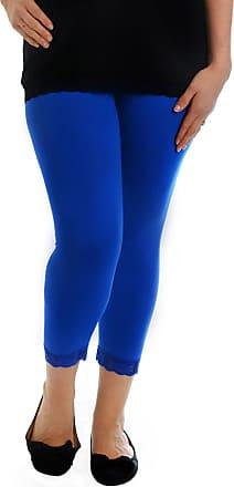 Nouvelle Collection Womens Plus Size Leggings Ladies Cropped Lace Trim Trousers Elasticated Soft Bottoms (Black, Size 32-34)