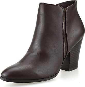 Nine West Ladies Womens Mid Block Heel Zip Up Cowboy Biker Chelsea Ankle Boots Shoes Size[UK 5.5,Brown]