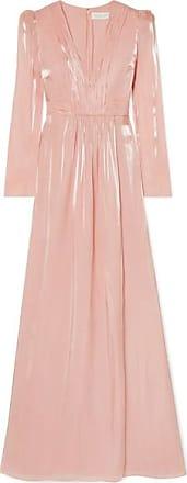 Rachel Zoe Rosalie Gathered Metallic Chiffon Gown - Pastel pink