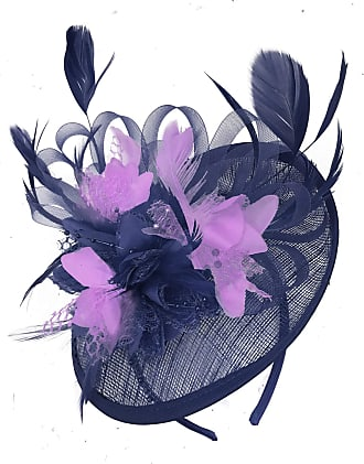 Caprilite Navy Blue and Lilac Sinamay Disc Saucer Fascinator Hat for Women Weddings Headband