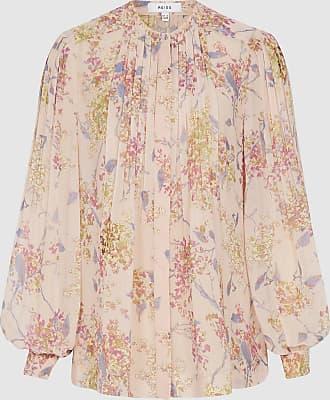 Reiss Handan - Floral Chiffon Blouse in Pink, Womens, Size 14
