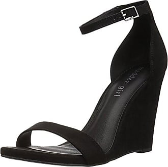 e4625bf8ad2 Madden Girl Womens WILLOOW Wedge Sandal Black Fabric 7.5 M US