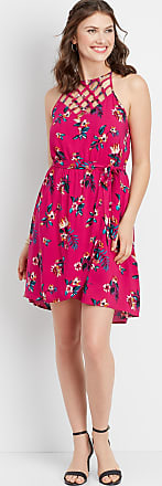 Maurices Lattice Neck Tropical Floral Dress