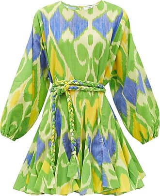 Rhode Resort Rhode - Ella Belted Ikat-print Cotton Mini Dress - Womens - Green Print