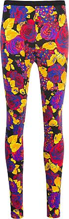 Msgm rose-print mid-rise leggings - Blue