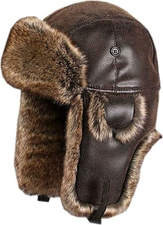 Insun Unisex Aviator Hat Faux Leather Pilot Cap Winter Trapper Hunting Hat Brown M Hat Circumference 22.0