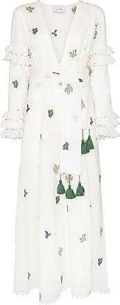 We are Leone Vestido de algodão com bordado de cacto - Branco