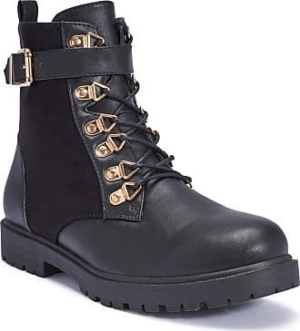 Truffle Colt14 Black Velvet Comabt Boots Chunky Buckle Detail Lace Up Boot[Ladies UK 3 / EU 36]