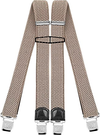 Decalen Mens Braces with Very Strong Clips Heavy Duty Suspenders One Size Fits All Wide Adjustable and Elastic X Style (Light Beige)