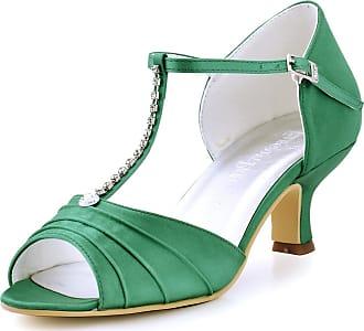 Elegantpark EL-035 Wedding Sandals for Bride Low Heel Bridal Shoes Women Peep Toe T-Strap Rhinestones Satin Bridal Party Sandals Green UK 9(EU 42)
