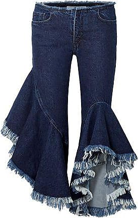 Marques Almeida Marques Almeida Woman Ruffled Frayed Low-rise Kick-flare Jeans Dark Denim Size 6