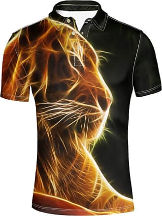 Hugs Idea Summer Fashion Short Sleeve Animals Lion Hipster T-Shirt Novelty Mens Golf Polos Shirt