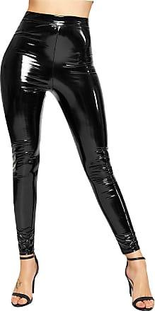 Momo & Ayat Fashions Ladies Vinyl PVC Wet Look Shiny Legging Pants UK Size 8-26 (Black, 2XL (UK 20-22))