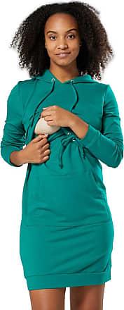Zeta Ville Zeta Ville - Womens Maternity Nursing Sweat Dress Hood - Long Sleeves - 208c (Green, UK 16/18, 2XL)