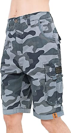 Crosshatch Mens Knee Length Combat Cargo Chino Cotton Shorts (Watchford - Charcoal Camo, 32)