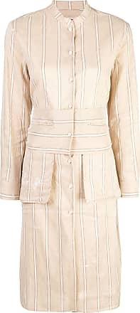 Uma Wang striped collarless shirt - Brown