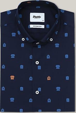 Brava Fabrics Mens Shirt - Mens Casual Shirt - Mens Shirt - 100% Cotton - Model Toy Robots Navy