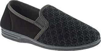 Zedzzz Mens Brown Velour Twin Gusset Slipper - Kevin - Brown - size UK Mens Size 13
