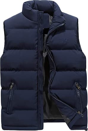ZongSen Mens Autumn and Winter Quilted Gilet Sleeveless Down Vest Lightweight Warm Waistcoat Blue XL