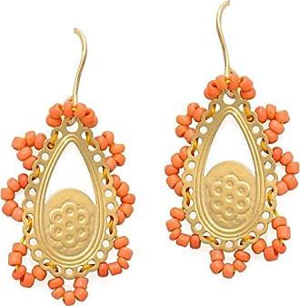 Tinna Jewelry Brinco Renda Miçanga (Laranja, Dourado)