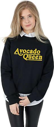 Sanfran Clothing Sanfran - Avocado Queen Top Funny Fashion Vegan Veggie Avocardio Slogan Jumper Sweater - Medium/Black