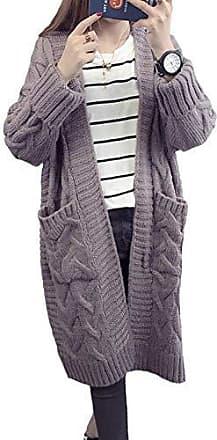 Damen Winter Warm Strickjacke Cardigan Wasserfall Longshirt Lang Jacke Mantel DE