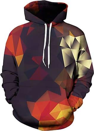 Ocean Plus Mens Hoodie 3D Graphic Hoodie with Kangaroo Pocket Hoody Sweat Hood Sweatshirts (L/XL (Chest: 114-134CM), Kaleidoscope)