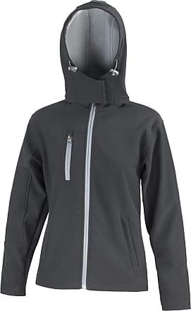 Result Core Womens/Ladies Lite Hooded Softshell Jacket (2XL) (Black/Grey)