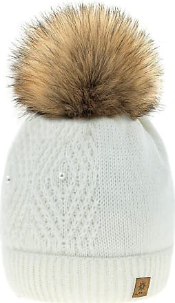 4sold Women Ladies Chunky Soft Cable Knit Hat Natural Mohair Wool with Cosy Fleece Liner and Handmade Faux Fur Pompom (Lili Ecru)