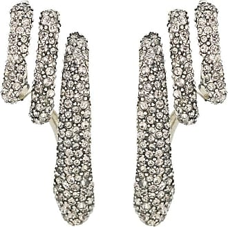 Alexander McQueen Crystal-embellished silver-plated cuff earrings