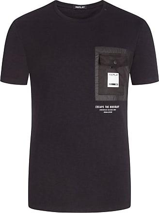 Replay Übergröße : Replay, T-Shirt mit Brusttasche in Schwarz für Herren