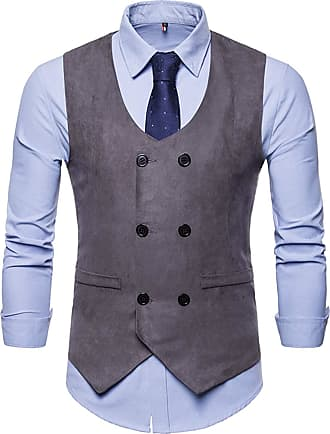 Whatlees Mens Slim Tweed Vest with Double-Breasted Button Front Gray 02010003XGray+XL