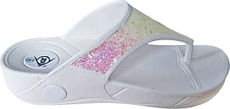 Dunlop Ladies Dunlop Low Wedge Fit Flip Flop Toe Post Crystal Sandals Shoes (UK 4/EU 37, White)