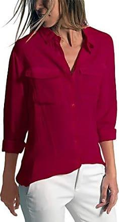 Gro/ße Gr/ö/ße Bluse Damen Langarm Revers Kragen Hemdbluse V Ausschnitt Langarmshirt Baumwolle Blusen mit Knopfleiste Hemd T-Shirt Oberteile Lose Tunika Top