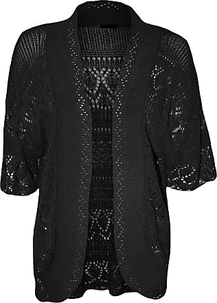 ZEE FASHION Women Ladies Knitted Bolero Crochet Shrug Open Cardigan Plus Size UK 8-30 Black