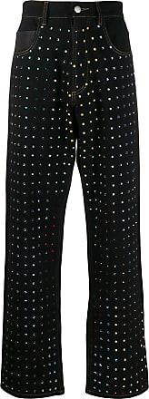 Koché Calça jeans flare com aplicações - Preto