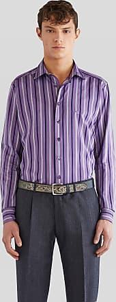 Etro Gestreiftes Baumwollhemd Mit Pegaso, Herren, Violett, Größe 38