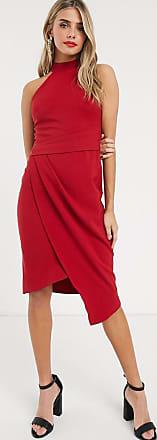 Lipsy Vestito longuette asimmetrico allacciato al collo rosso