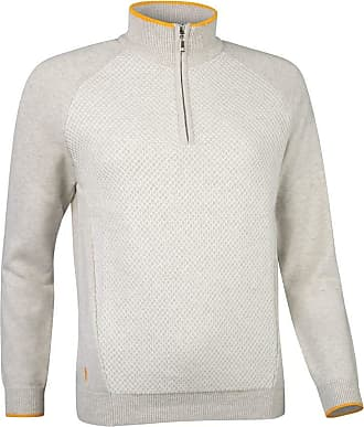 Glenmuir Ladies LKC2620ZN Zip Neck Reverse Birdseye Touch of Cashmere Golf Sweater Stardust S