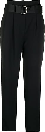 Karl Lagerfeld Calça cintura alta com cinto - Preto
