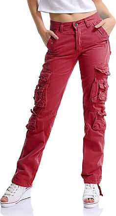 OCHENTA Womens Combat Casual Cargo Eight Pocket Army Military Trousers Wine Red Lable 31-UK 10
