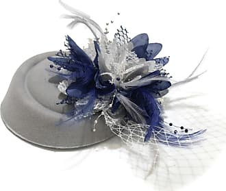 Caprilite Silver Grey and Navy Pillbox Fascinator Hat for Women Weddings Bird Cage Veil Clip