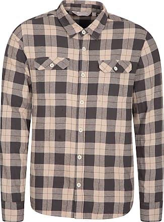 Mountain Warehouse Trace Mens Flannel Long Sleeve Shirt - 100% Cotton Checks Shirt, Lightweight, Breathable, Casual, Zipped Pocket - Ideal for Travelling & Walking Beige
