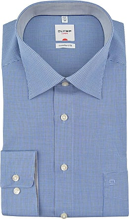 Olymp Luxor comfort fit New Kent Collar royal blue long sleeve check shirt - Blue - 15.5