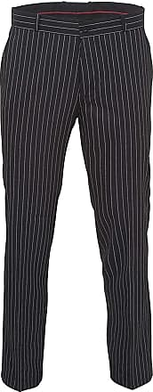Relco Mens Stay Press Classic Pinstripe Trousers Sta Press Retro Mod Skin Ska, 34 Inch Black