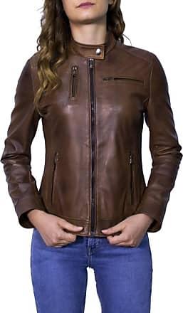 Leather Trend Italy Giulia - Giacca Donna in Vera Pelle colore Marrone Invecchiato
