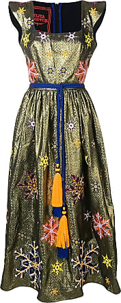 Yuliya Magdych Snowflakes embroidered dress - Gold