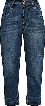 Brunello Cucinelli Brunello Cucinelli Woman Distressed High-rise Boyfriend Jeans Mid Denim Size 42